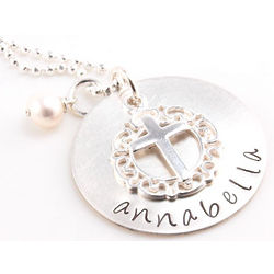 Personalized Hand Stamped Cross Necklace