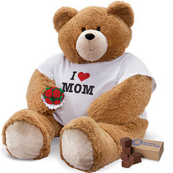 I Heart Mom Big Teddy Bear with Fabric Roses and Fudge