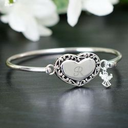 Engraved Heart with Angel Bangle Bracelet