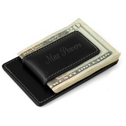 Leather Magnetic Money Clip with Credit Card Holder