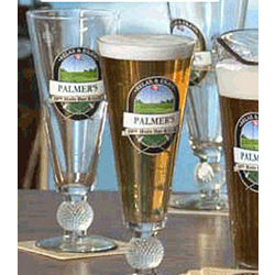 Personalized 19th Hole Golf Ball Base Pilsner Glasses