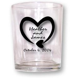 Custom Imprinted Glass Votive Candle Holder Favors