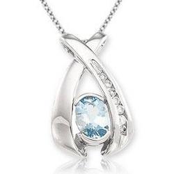 14kt White Gold Diamond and Aquamarine Pendant