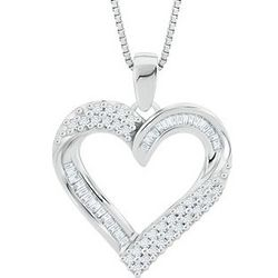 Baguette & Round Diamond Sterling Silver Heart-Shaped Necklace