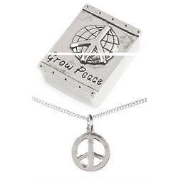 Grow Peace Treasure Box & Peace Sign Necklace Set