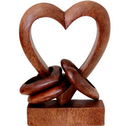 Heart Power Wood Sculpture