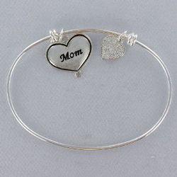 Silvertone Mom Bangle Bracelet