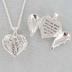 Antique Silvertone Inspirational Wing Locket Necklace