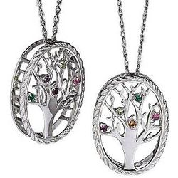 Sterling Silver Birthstone Family Tree Pendant