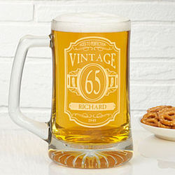 Vintage Classic Personalized Deep Etch Beer Mug