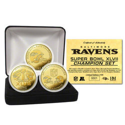Baltimore Ravens Super Bowl XLVII Champions Gold 3 Coin Set