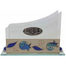 Blue Floral Pomegranate Matzah Holder