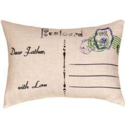 Plaid Post Card Father Pillow
