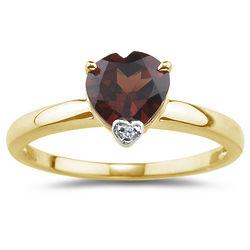 Diamond and Garnet Heart Ring in 14 Karat Yellow Gold