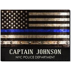 Courage & Honor Thin Blue Line Customized Flag Wooden Sign