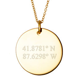 """Engraveable Custom Coordinate 5/8"""" Gold Plated Round Tag Pendant"""