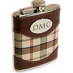 Traditional Flask with Beige Plaid and Leather Cover