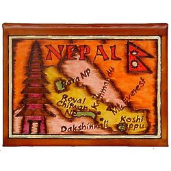 Nepal Map Leather Photo Album in Color