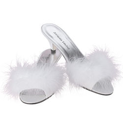 White Feather Poofs Heels