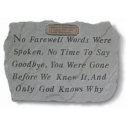 Personalized 'No Farewell Words Were Spoken' Memorial Stone