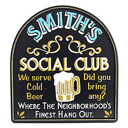 Cold Beer Social Club Personalized Pub Sign