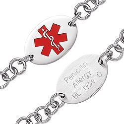 Stainless Steel Oval Medical Alert Engraved ID Bracelet