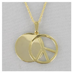 Engraved Peace Sign Goldtone Pendant Necklace