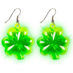 Light Up Flashing Shamrock Earrings