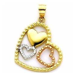 3 Hearts Pendant in 14k Tri Color Gold