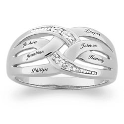 Sterling Silver Mother's Diamond Accent Name Bar Ring