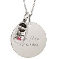Round Tag Pendant with Birthstone Shoe Charm