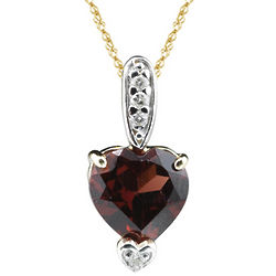 Diamond and Garnet Heart Pendant in 14 Karat Two Tone Gold