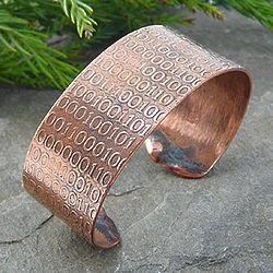 Golden Ratio Binary Code Copper Cuff Bracelet