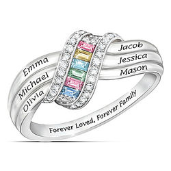 Personalized Forever Family Birthstone Ring