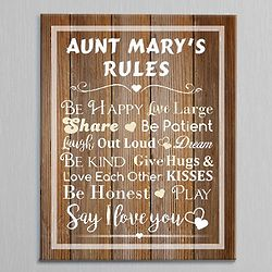 Personalized House Rules Canvas Art Print