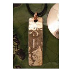 Monogrammed Hammered Copper Rectangle Necklace