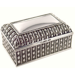 Personalized Silver Beaded Chest Jewelry Box