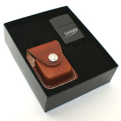Zippo Pure Series Lighter and Leather Pouch Gift Set