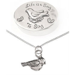 Life is a Song Treasure Box & Bird Pendant Necklace