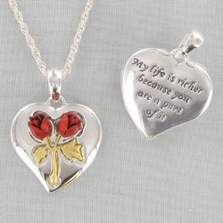 Silvertone Red Rose Heart Necklace