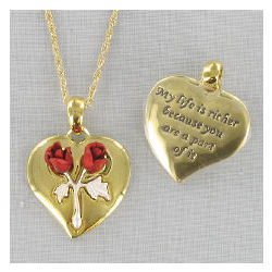Two Tone Gold Heart Double Rose Necklace