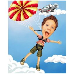 Sky Diving Adventure Caricature from Photo Art Print