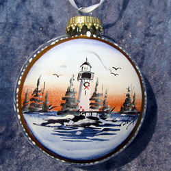 Personalized Glass Lighthouse Disc Ornament
