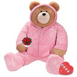 Big Hunka Love Hoodie-Footie Teddy Bear with Roses and Chocolate