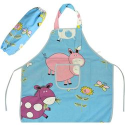 Silly Cow Blue Kid's Apron with Arm Covers