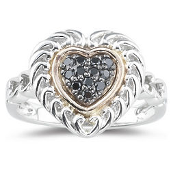 Silver and Pink Gold Black Diamond Heart Ring
