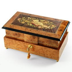 Double Level Instrumental and Floral Theme Inlay Music Box
