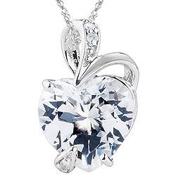 Diamond & White Topaz Heart Pendant in 14K White Gold