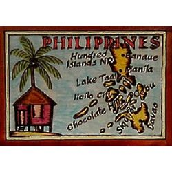 Philippines Map Leather Photo Album in Color