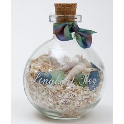 Engraved Recycled Glass Ball Shaped Keepsake Bottle